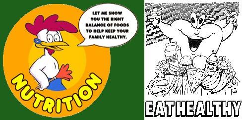 דוגמאות למידע תזונתי מסולף, המציף את הציבור.  מימין: מחנכים ילדים לצרוך מוצרי בשר וחלב במסגרת שיעורים ב...